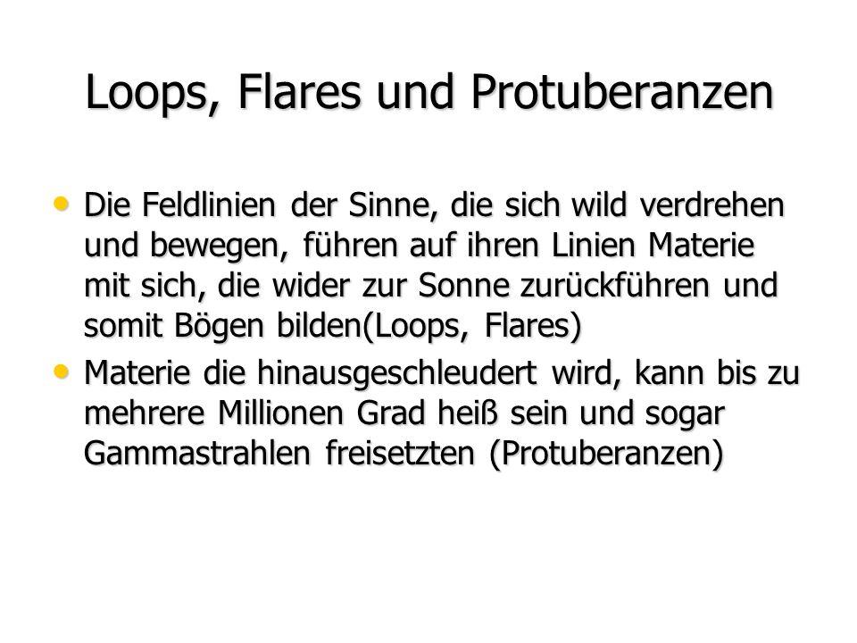 Loops, Flares und Protuberanzen Die Feldlinien der Sinne, die sich wild verdrehen und bewegen, führen auf ihren Linien Materie mit sich, die wider zur Sonne zurückführen und somit Bögen bilden(Loops, Flares) Die Feldlinien der Sinne, die sich wild verdrehen und bewegen, führen auf ihren Linien Materie mit sich, die wider zur Sonne zurückführen und somit Bögen bilden(Loops, Flares) Materie die hinausgeschleudert wird, kann bis zu mehrere Millionen Grad heiß sein und sogar Gammastrahlen freisetzten (Protuberanzen) Materie die hinausgeschleudert wird, kann bis zu mehrere Millionen Grad heiß sein und sogar Gammastrahlen freisetzten (Protuberanzen)