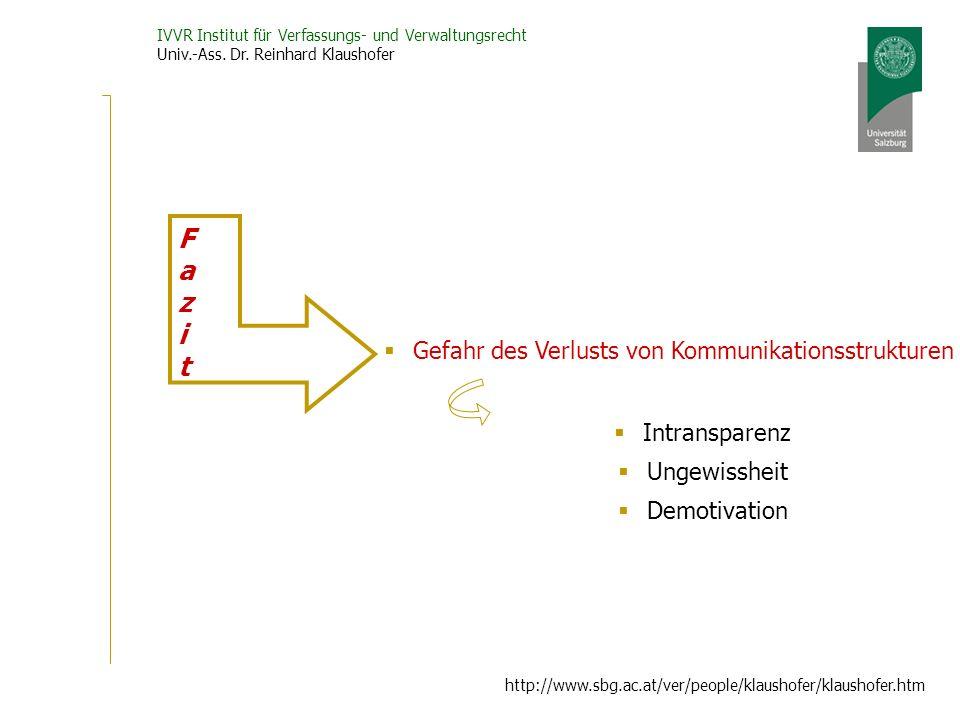 IVVR Institut für Verfassungs- und Verwaltungsrecht Univ.-Ass. Dr. Reinhard Klaushofer http://www.sbg.ac.at/ver/people/klaushofer/klaushofer.htm Gefah