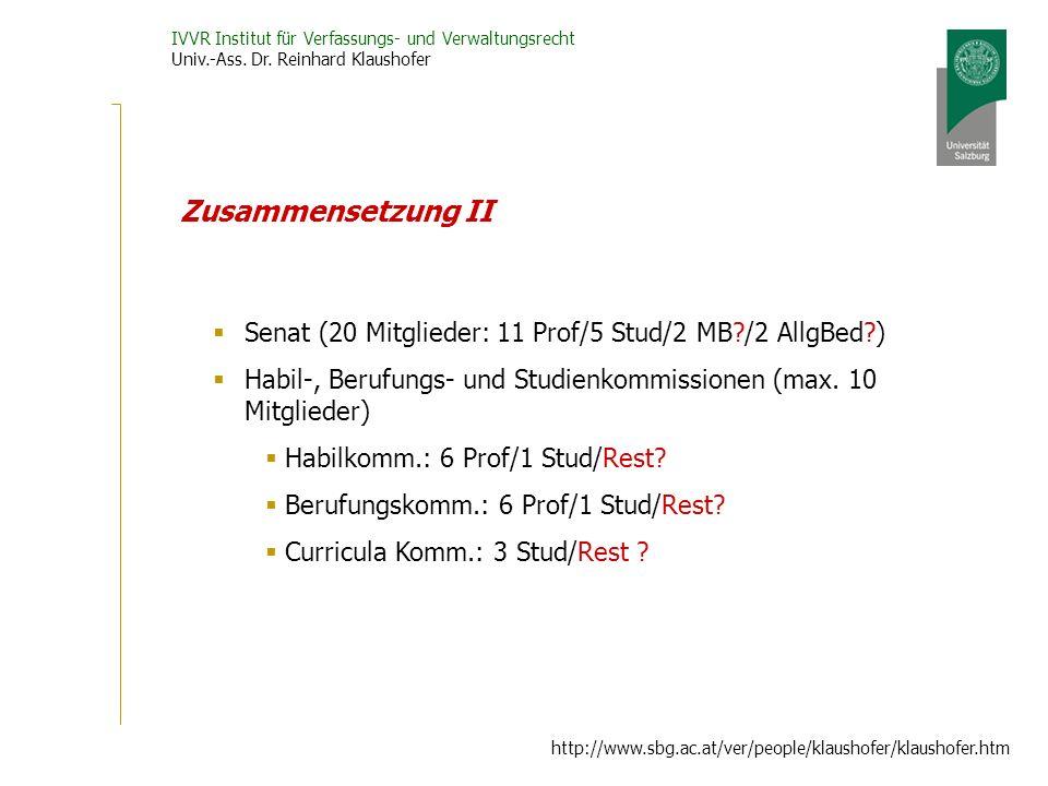 IVVR Institut für Verfassungs- und Verwaltungsrecht Univ.-Ass.