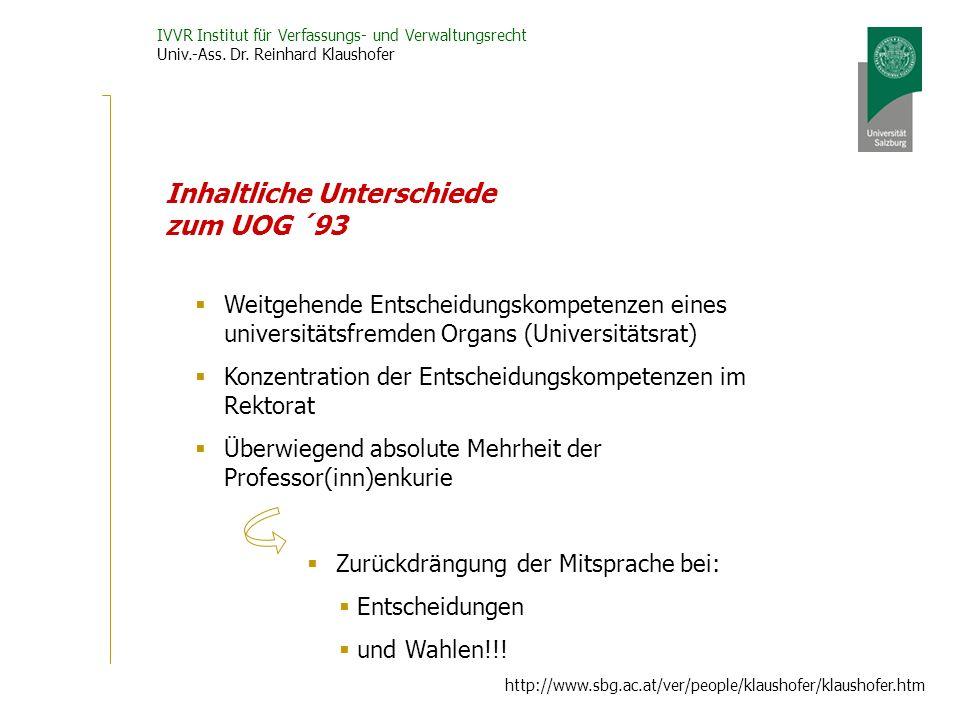 IVVR Institut für Verfassungs- und Verwaltungsrecht Univ.-Ass. Dr. Reinhard Klaushofer http://www.sbg.ac.at/ver/people/klaushofer/klaushofer.htm Inhal