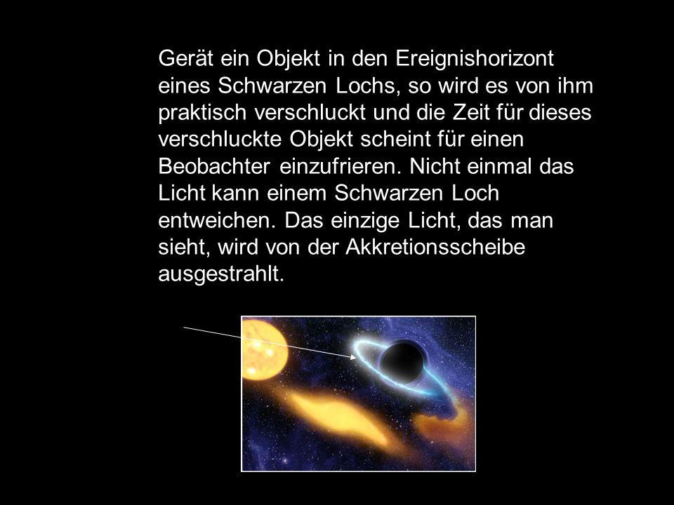 Gerät ein Objekt in den Ereignishorizont eines Schwarzen Lochs, so wird es von ihm praktisch verschluckt und die Zeit für dieses verschluckte Objekt scheint für einen Beobachter einzufrieren.