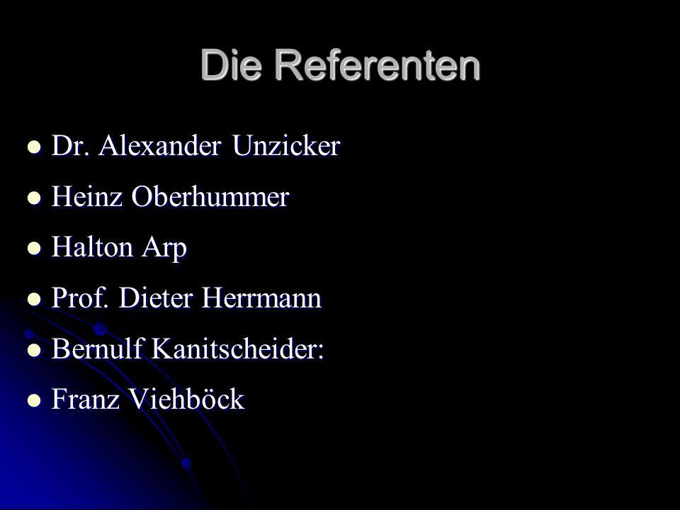 Die Referenten Dr. Alexander Unzicker Dr. Alexander Unzicker Heinz Oberhummer Heinz Oberhummer Halton Arp Halton Arp Prof. Dieter Herrmann Prof. Diete