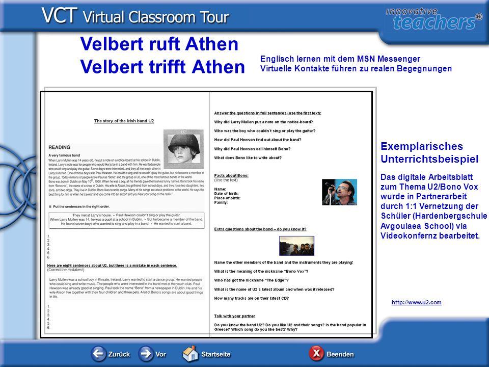 http://www.u2.com Exemplarisches Unterrichtsbeispiel Das digitale Arbeitsblatt zum Thema U2/Bono Vox wurde in Partnerarbeit durch 1:1 Vernetzung der S