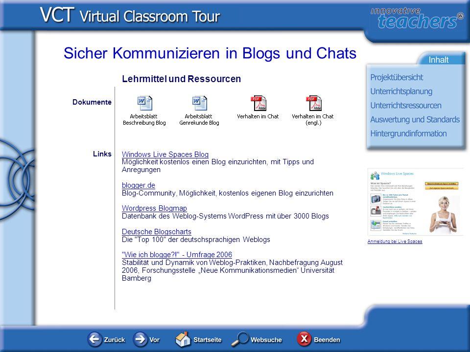 Lehrmittel und Ressourcen Windows Live Spaces Blog Möglichkeit kostenlos einen Blog einzurichten, mit Tipps und Anregungen blogger.de Blog-Community,