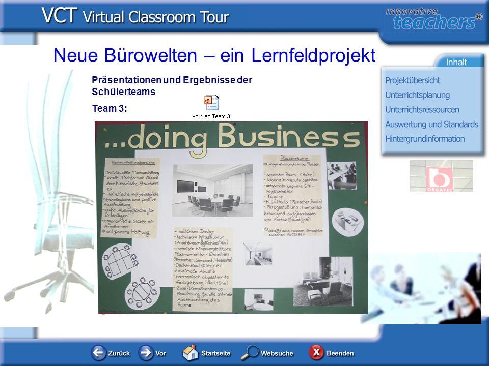 Neue Bürowelten – ein Lernfeldprojekt Präsentationen und Ergebnisse der Schülerteams Team 3: