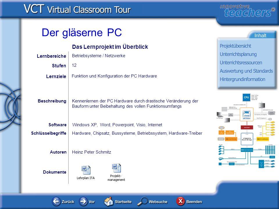 Dokumente AutorenHeinz Peter Schmitz Funktion und Konfiguration der PC Hardware Lernziele Windows XP, Word, Powerpoint, Visio, Internet Software Besch