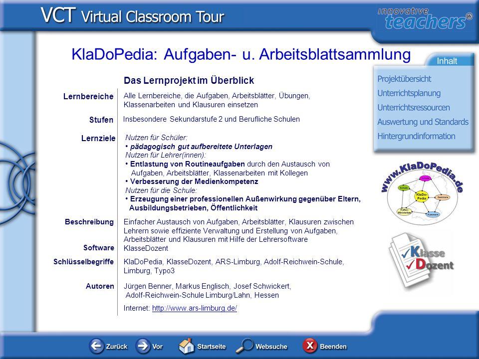 AutorenJürgen Benner, Markus Englisch, Josef Schwickert, Adolf-Reichwein-Schule Limburg/Lahn, Hessen Internet: http://www.ars-limburg.de/http://www.ar