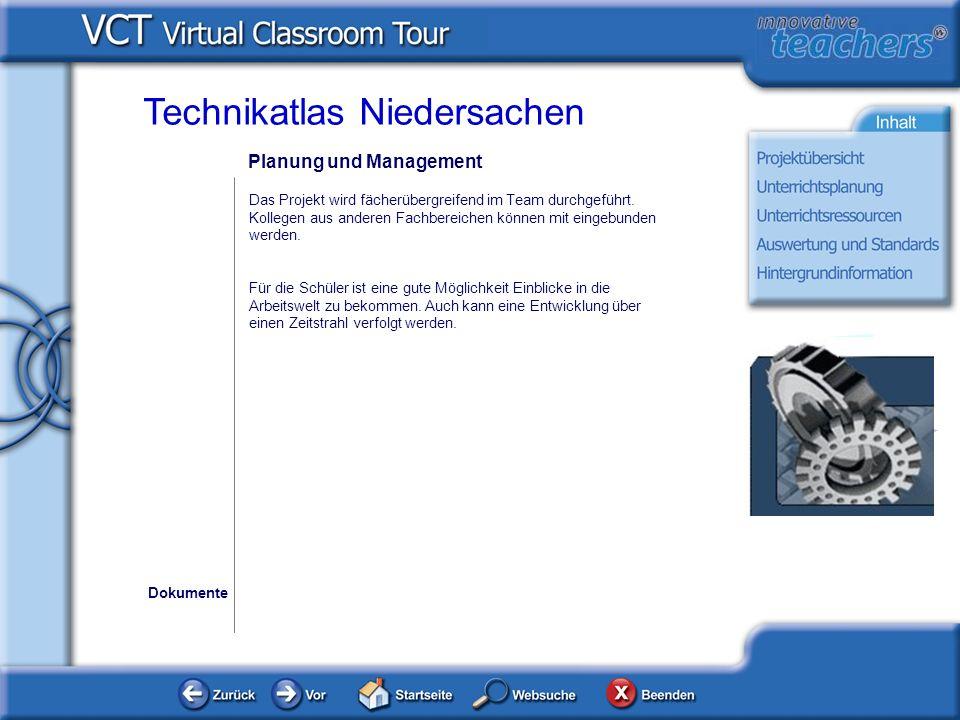 Planung und Management Dokumente Technikatlas Niedersachen Das Projekt wird fächerübergreifend im Team durchgeführt.