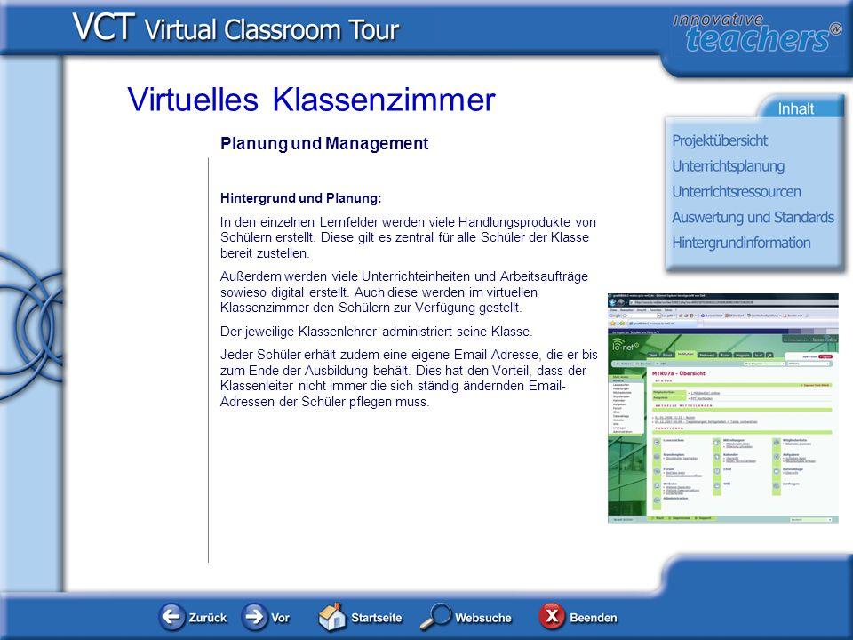 Planung und Management Hintergrund und Planung: In den einzelnen Lernfelder werden viele Handlungsprodukte von Schülern erstellt. Diese gilt es zentra