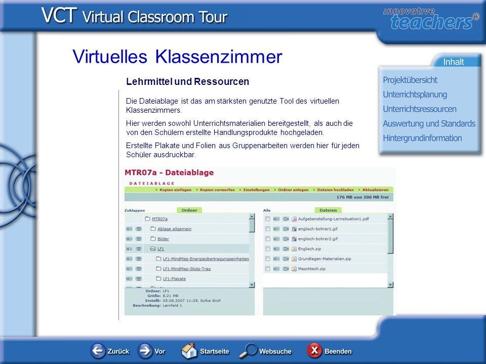 Lehrmittel und Ressourcen Virtuelles Klassenzimmer Die Dateiablage ist das am stärksten genutzte Tool des virtuellen Klassenzimmers. Hier werden sowoh