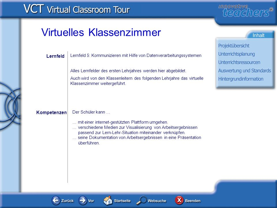 Virtuelles Klassenzimmer Der Schüler kann … … mit einer internet-gestützten Plattform umgehen. … verschiedene Medien zur Visualisierung von Arbeitserg
