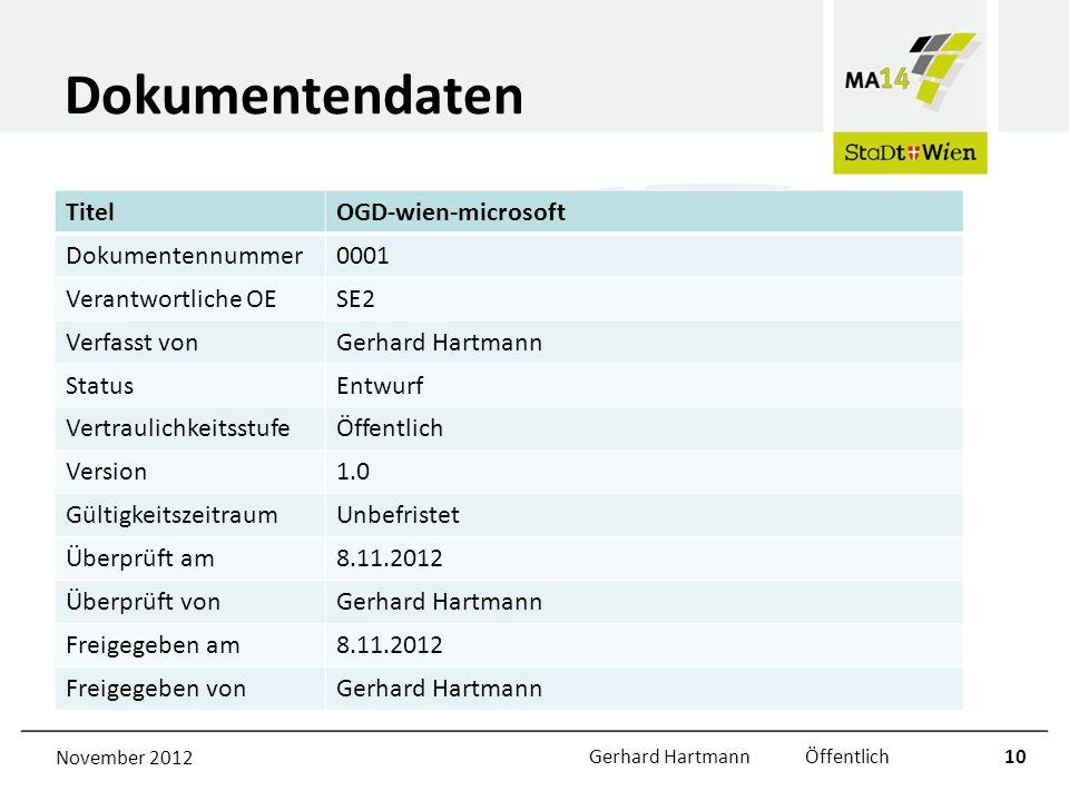 Dokumentendaten TitelOGD-wien-microsoft Dokumentennummer0001 Verantwortliche OESE2 Verfasst vonGerhard Hartmann StatusEntwurf VertraulichkeitsstufeÖff