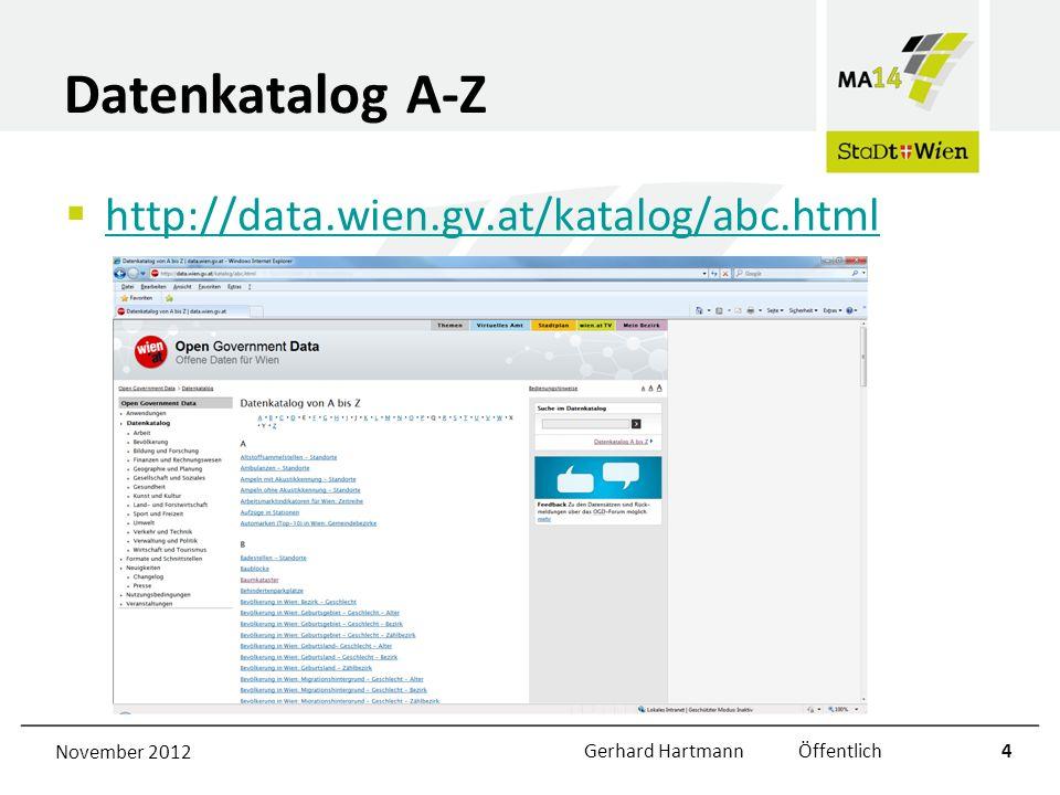 GIS Datensätze Alle GIS Datensätze werden in folgenden Formaten angeboten: –GML (WFS) –JSON (WFS) –KML (WMS – Geoserver) –GeoRSS (WMS – Geoserver) –CSV (WFS) –ESRI Shapefile (WFS) Livezugriff auf die aktuellen Daten November 2012Gerhard Hartmann Öffentlich5