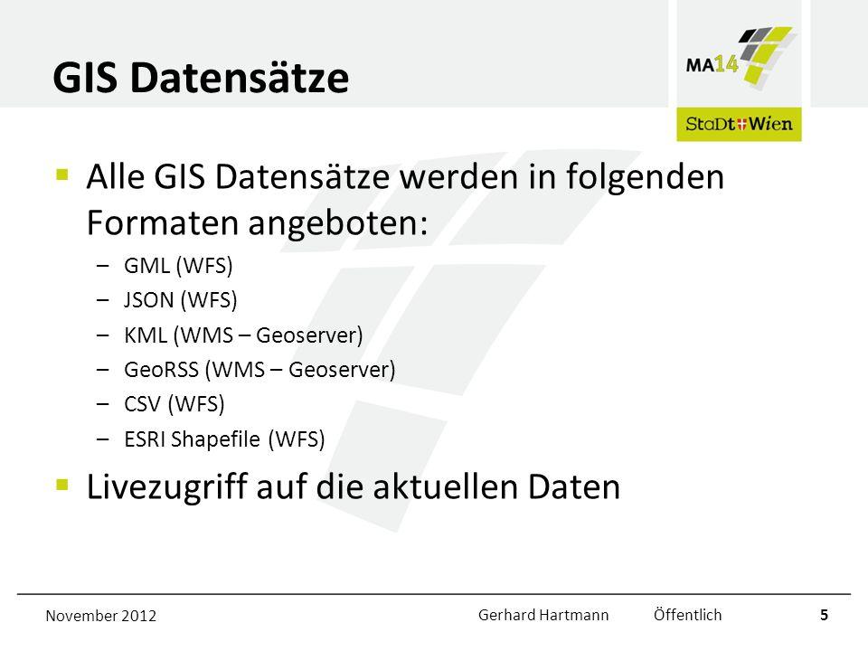 GIS Datensätze Alle GIS Datensätze werden in folgenden Formaten angeboten: –GML (WFS) –JSON (WFS) –KML (WMS – Geoserver) –GeoRSS (WMS – Geoserver) –CS