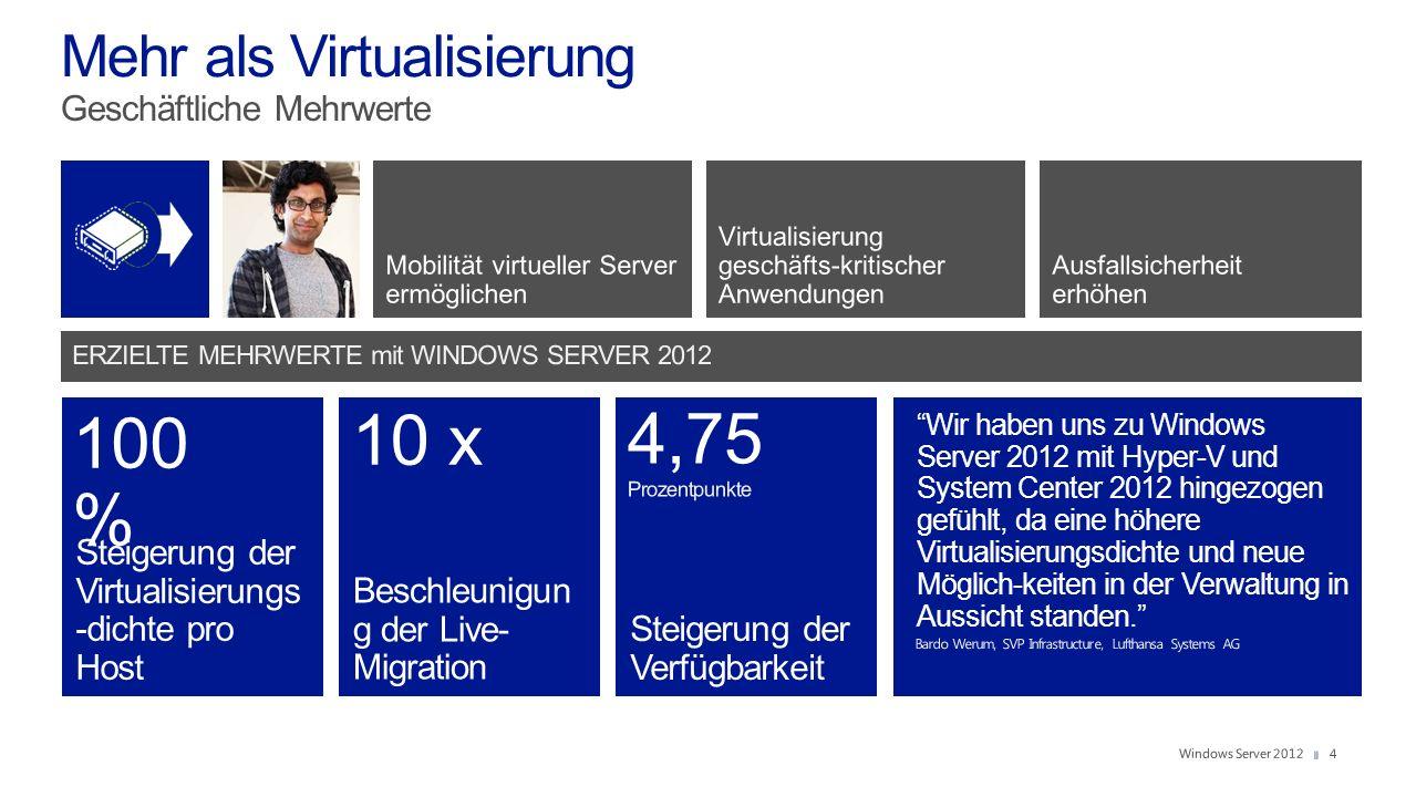 4 Steigerung der Virtualisierungs -dichte pro Host Beschleunigun g der Live- Migration Steigerung der Verfügbarkeit 100 % 10 x Wir haben uns zu Windows Server 2012 mit Hyper-V und System Center 2012 hingezogen gefühlt, da eine höhere Virtualisierungsdichte und neue Möglich-keiten in der Verwaltung in Aussicht standen.