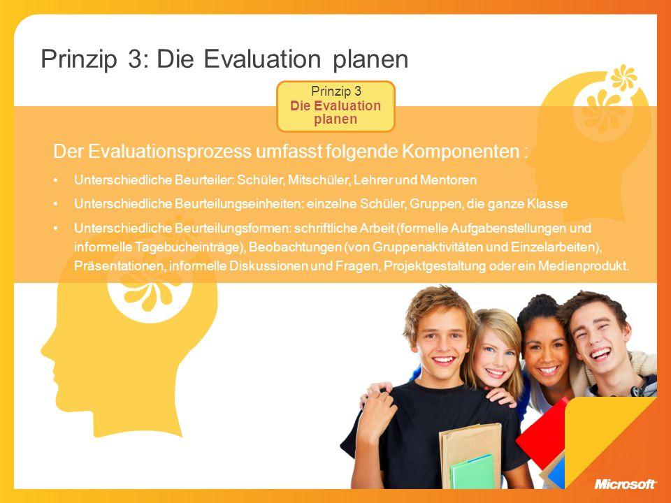 Prinzip 3: Die Evaluation planen Der Evaluationsprozess umfasst folgende Komponenten : Unterschiedliche Beurteiler: Schüler, Mitschüler, Lehrer und Me