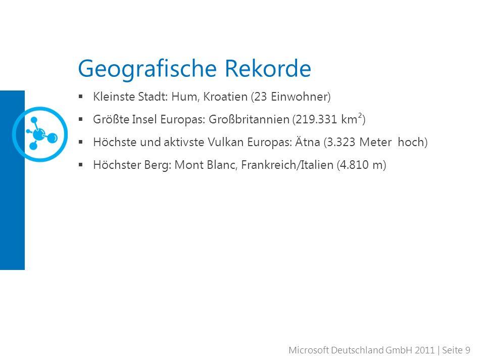 Microsoft Deutschland GmbH 2011 | Seite 9 Geografische Rekorde Kleinste Stadt: Hum, Kroatien (23 Einwohner) Größte Insel Europas: Großbritannien (219.