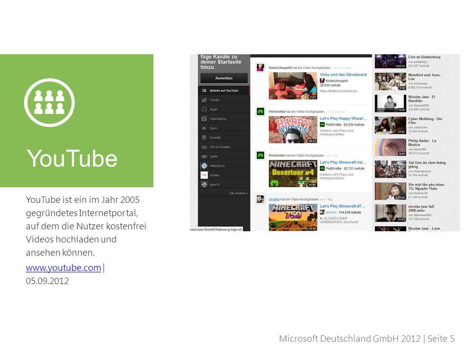 Microsoft Deutschland GmbH 2012 | Seite 5 YouTube ist ein im Jahr 2005 gegründetes Internetportal, auf dem die Nutzer kostenfrei Videos hochladen und