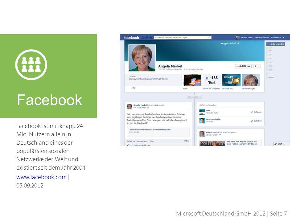 Microsoft Deutschland GmbH 2012 | Seite 7 Facebook ist mit knapp 24 Mio. Nutzern allein in Deutschland eines der populärsten sozialen Netzwerke der We