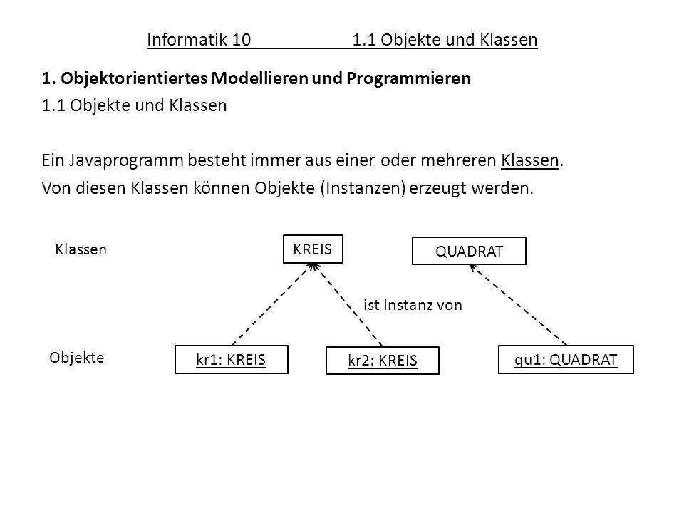 Informatik 101.1 Objekte und Klassen 1. Objektorientiertes Modellieren und Programmieren 1.1 Objekte und Klassen Ein Javaprogramm besteht immer aus ei