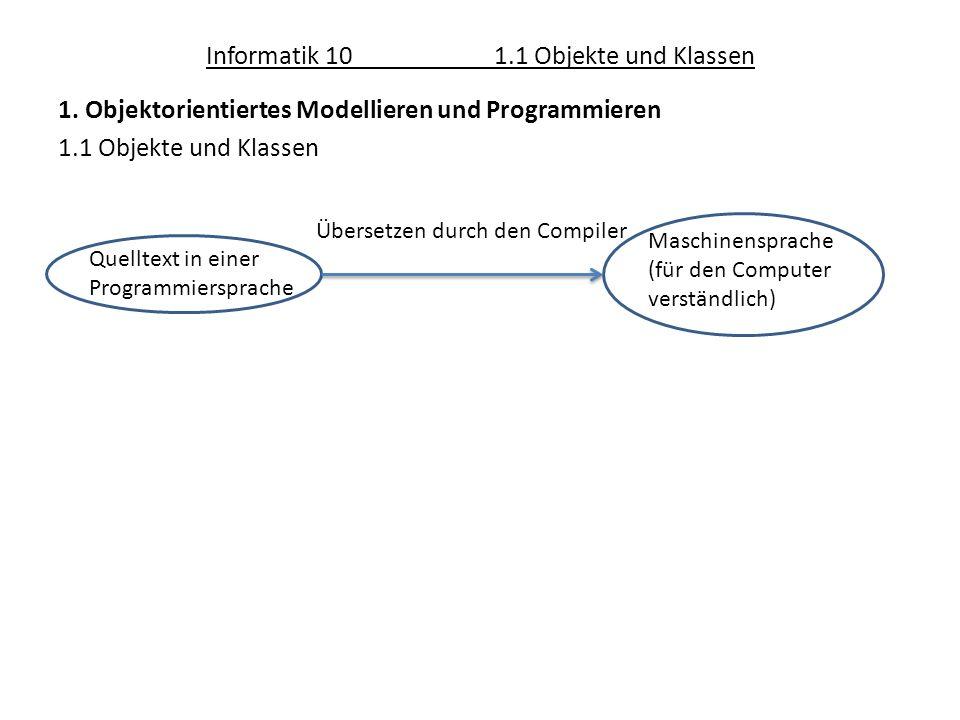 Informatik 101.1 Objekte und Klassen 1. Objektorientiertes Modellieren und Programmieren 1.1 Objekte und Klassen Quelltext in einer Programmiersprache