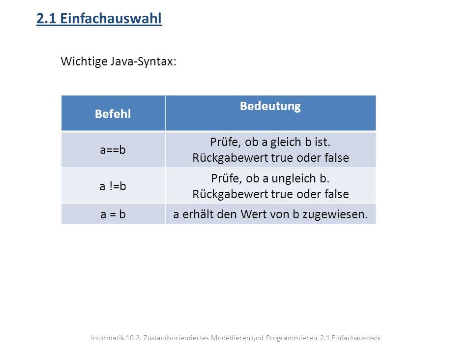 Informatik 10 2. Zustandsorientiertes Modellieren und Programmieren 2.1 Einfachauswahl 2.1 Einfachauswahl Wichtige Java-Syntax: Befehl Bedeutung a==b