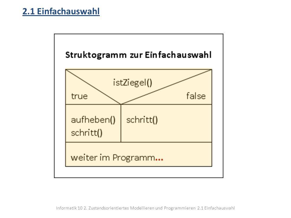 Informatik 10 2. Zustandsorientiertes Modellieren und Programmieren 2.1 Einfachauswahl 2.1 Einfachauswahl