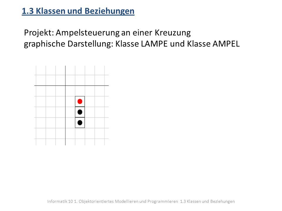 Informatik 10 1. Objektorientiertes Modellieren und Programmieren 1.3 Klassen und Beziehungen 1.3 Klassen und Beziehungen Projekt: Ampelsteuerung an e