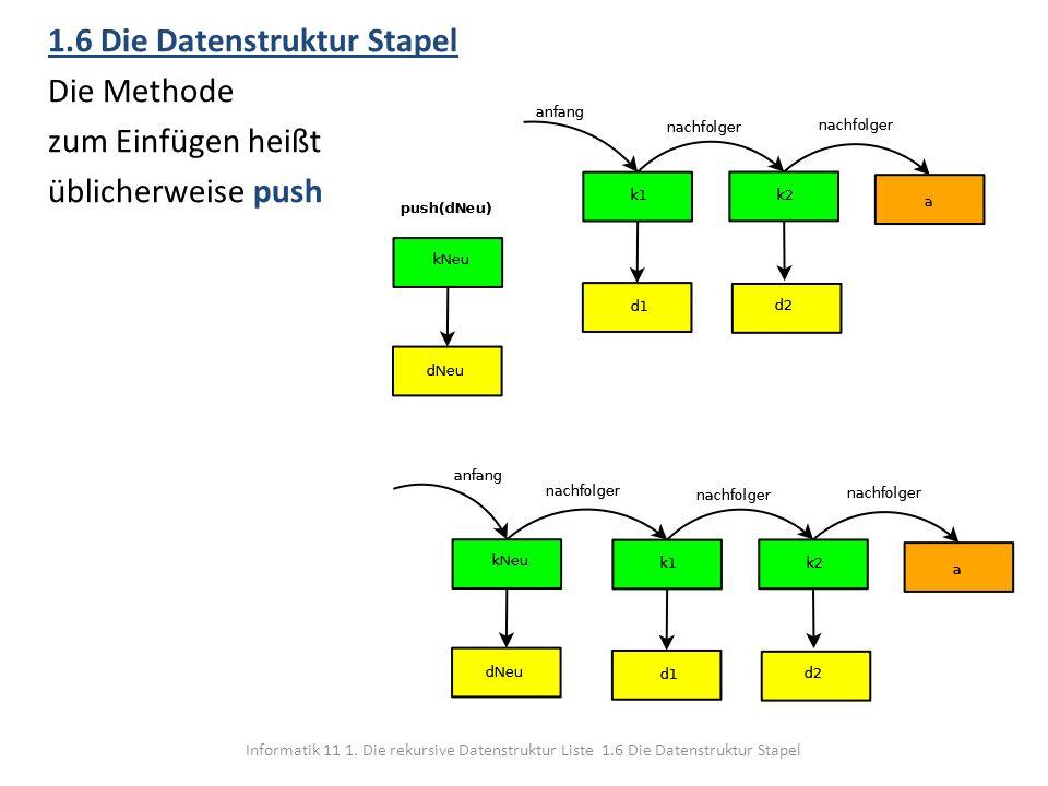 Informatik 11 1. Die rekursive Datenstruktur Liste 1.6 Die Datenstruktur Stapel 1.6 Die Datenstruktur Stapel Die Methode zum Einfügen heißt üblicherwe