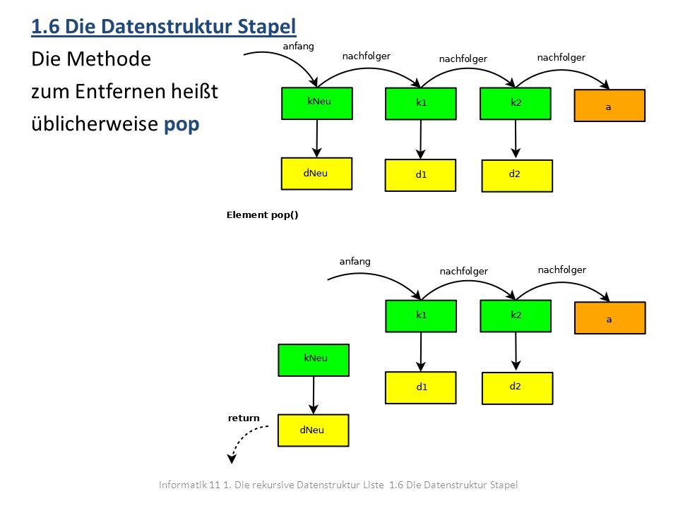 Informatik 11 1. Die rekursive Datenstruktur Liste 1.6 Die Datenstruktur Stapel 1.6 Die Datenstruktur Stapel Die Methode zum Entfernen heißt üblicherw