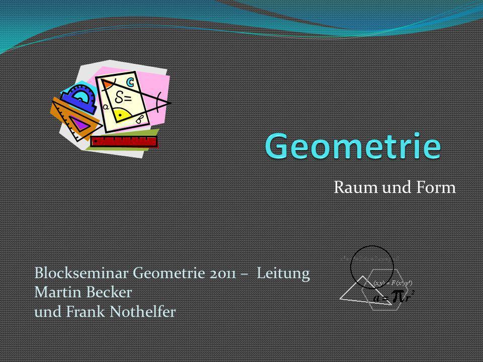 Ziele des Geometrieunterrichts Handlungserfahrungen ermöglichen Raumerfahrungen vertiefen, Umwelterschließung ermöglichen Geometrische Verfahren und Techniken erproben Internes Visualisieren, Denkentwicklung und…….
