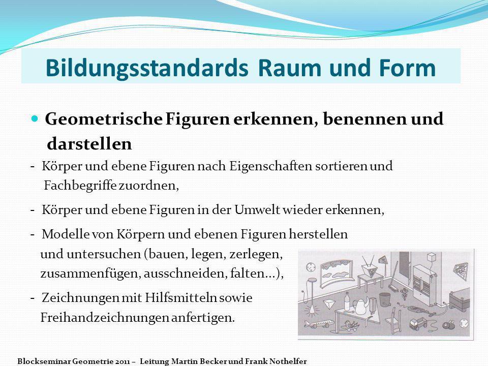 Bildungsstandards Raum und Form Geometrische Figuren erkennen, benennen und darstellen - Körper und ebene Figuren nach Eigenschaften sortieren und Fac