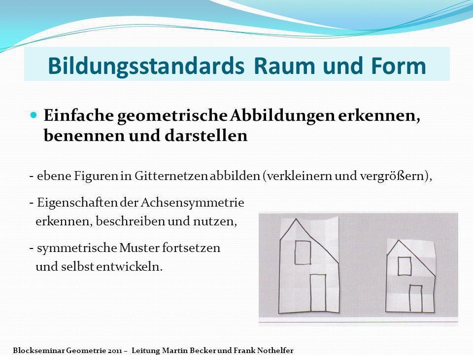 Bildungsstandards Raum und Form Einfache geometrische Abbildungen erkennen, benennen und darstellen - ebene Figuren in Gitternetzen abbilden (verklein