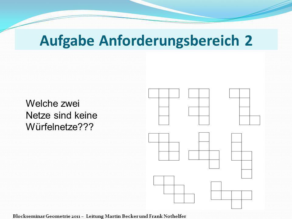 Aufgabe Anforderungsbereich 2 Welche zwei Netze sind keine Würfelnetze??? Blockseminar Geometrie 2011 – Leitung Martin Becker und Frank Nothelfer