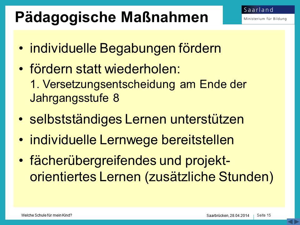 Seite 15 Welche Schule für mein Kind? Saarbrücken, 28.04.2014 selbstständiges Lernen unterstützen individuelle Lernwege bereitstellen fächerübergreife