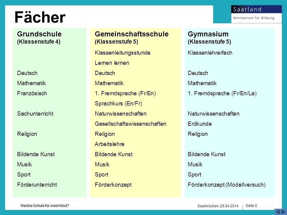 Seite 6 Welche Schule für mein Kind? Saarbrücken, 28.04.2014 Grundschule (Klassenstufe 4) Gemeinschaftsschule (Klassenstufe 5) Deutsch Mathematik Fran