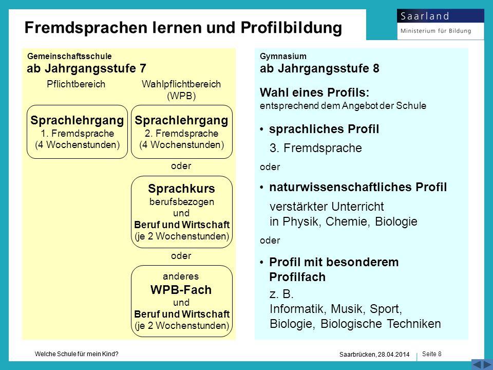 Seite 8 Welche Schule für mein Kind? Saarbrücken, 28.04.2014 ab Jahrgangsstufe 7ab Jahrgangsstufe 8 3. Fremdsprache verstärkter Unterricht in Physik,
