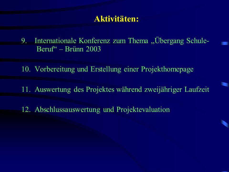 Aktivitäten: 9. Internationale Konferenz zum Thema Übergang Schule- Beruf – Brünn 2003 10.