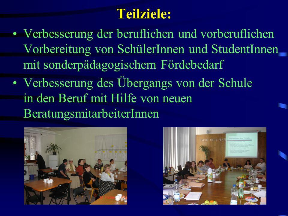 Teilziele: Verbesserung der beruflichen und vorberuflichen Vorbereitung von SchülerInnen und StudentInnen mit sonderpädagogischem Fördebedarf Verbesserung des Übergangs von der Schule in den Beruf mit Hilfe von neuen BeratungsmitarbeiterInnen