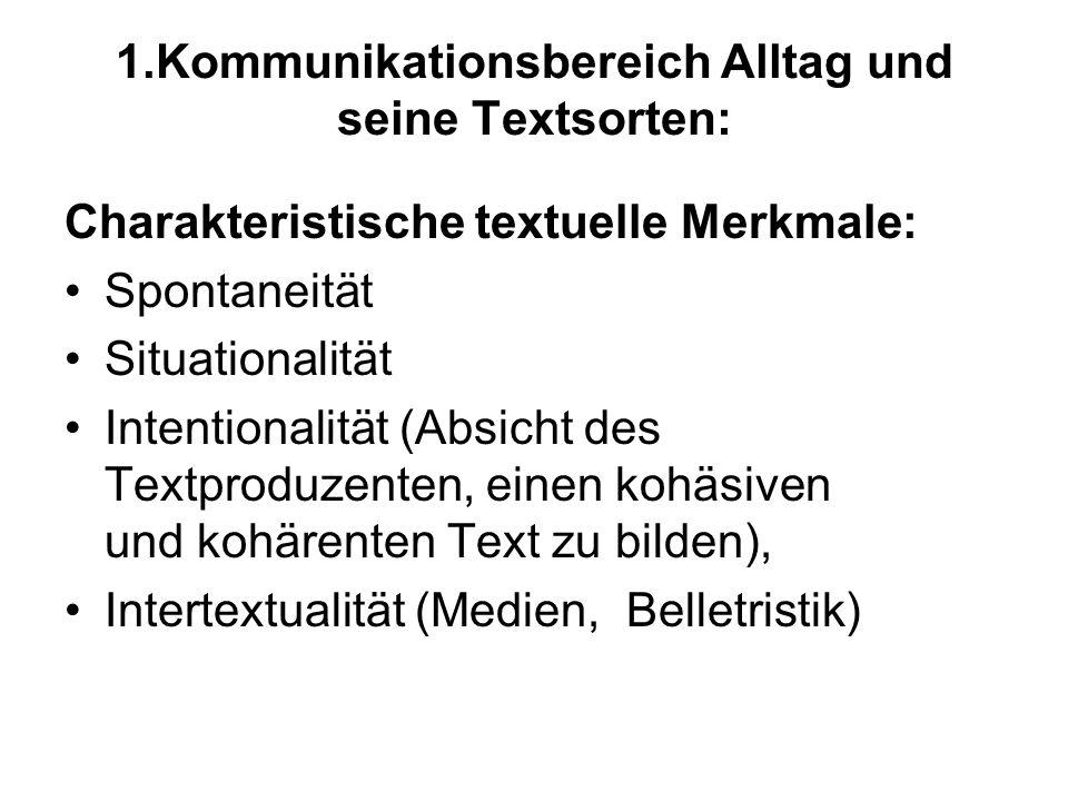 1.Kommunikationsbereich Alltag und seine Textsorten: Charakteristische textuelle Merkmale: Spontaneität Situationalität Intentionalität (Absicht des T