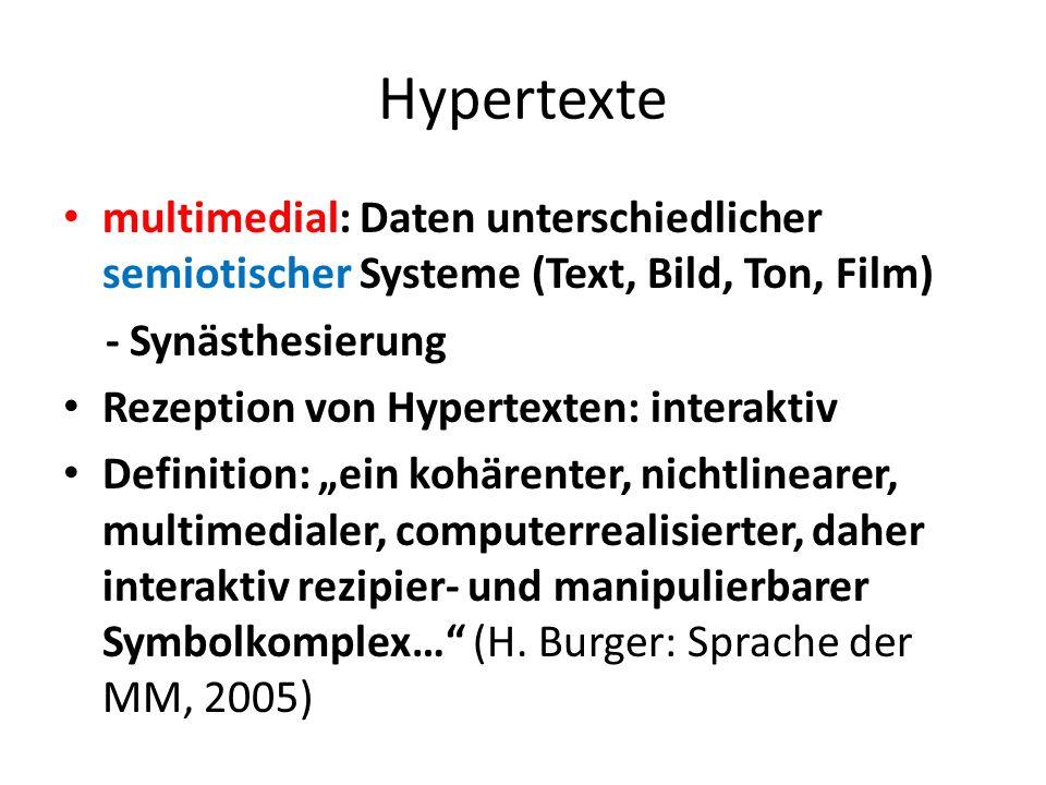 Hypertexte multimedial: Daten unterschiedlicher semiotischer Systeme (Text, Bild, Ton, Film) - Synästhesierung Rezeption von Hypertexten: interaktiv Definition: ein kohärenter, nichtlinearer, multimedialer, computerrealisierter, daher interaktiv rezipier- und manipulierbarer Symbolkomplex… (H.