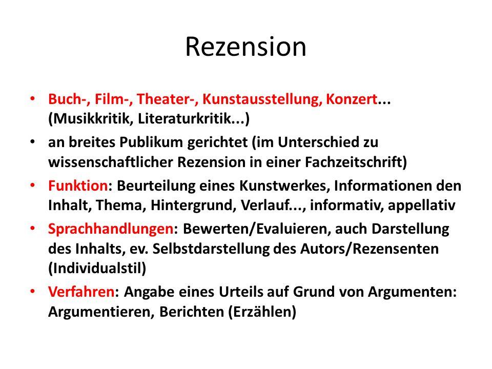 Rezension Buch-, Film-, Theater-, Kunstausstellung, Konzert...
