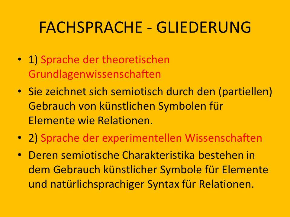 FACHSPRACHE - GLIEDERUNG 1) Sprache der theoretischen Grundlagenwissenschaften Sie zeichnet sich semiotisch durch den (partiellen) Gebrauch von künstl