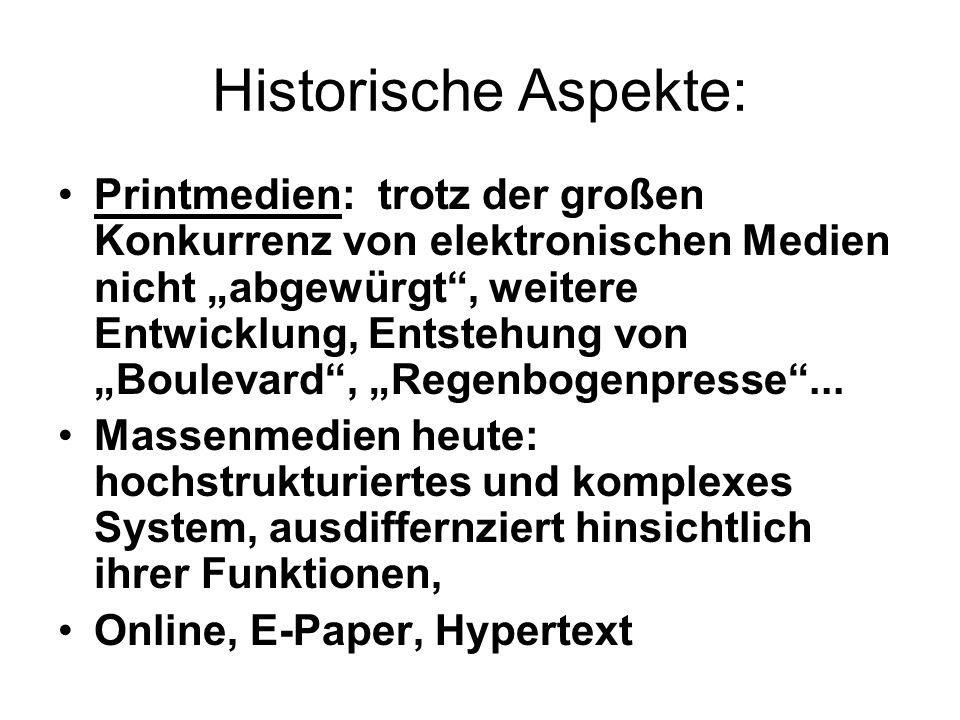 Historische Aspekte: Printmedien: trotz der großen Konkurrenz von elektronischen Medien nicht abgewürgt, weitere Entwicklung, Entstehung von Boulevard