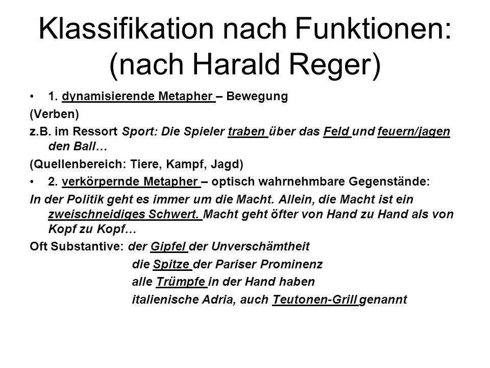 Klassifikation nach Funktionen: (nach Harald Reger) 1. dynamisierende Metapher – Bewegung (Verben) z.B. im Ressort Sport: Die Spieler traben über das