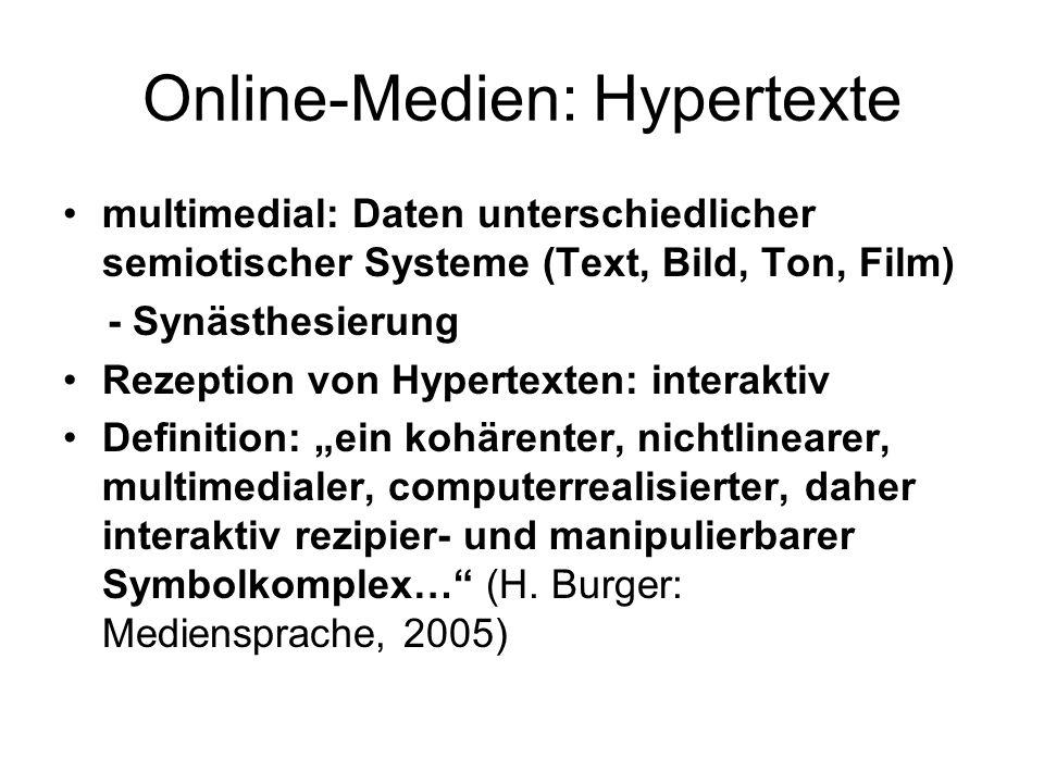 Online-Medien: Hypertexte multimedial: Daten unterschiedlicher semiotischer Systeme (Text, Bild, Ton, Film) - Synästhesierung Rezeption von Hypertexte