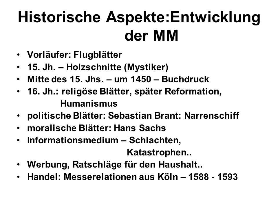 Historische Aspekte:Entwicklung der MM Vorläufer: Flugblätter 15. Jh. – Holzschnitte (Mystiker) Mitte des 15. Jhs. – um 1450 – Buchdruck 16. Jh.: reli