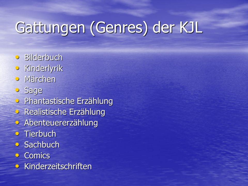 Gattungen (Genres) der KJL Bilderbuch Bilderbuch Kinderlyrik Kinderlyrik Märchen Märchen Sage Sage Phantastische Erzählung Phantastische Erzählung Rea