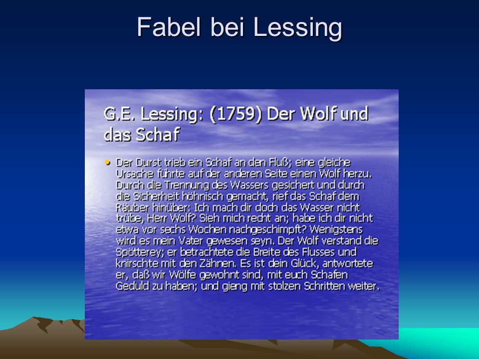 Fabel bei Lessing