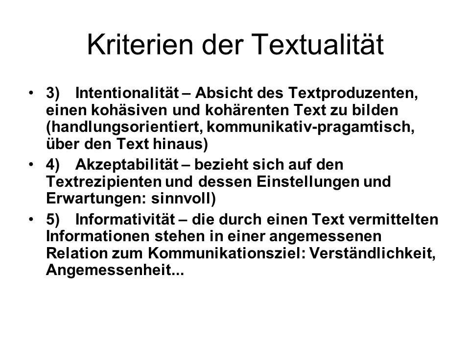 Kriterien der Textualität 3)Intentionalität – Absicht des Textproduzenten, einen kohäsiven und kohärenten Text zu bilden (handlungsorientiert, kommuni